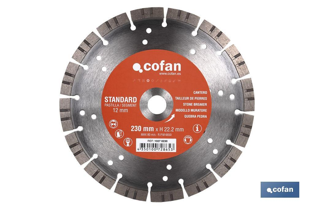 DISCO DIAMANTE CANTERO STANDARD H-12mm, 230mm (PACK: 1 UDS)