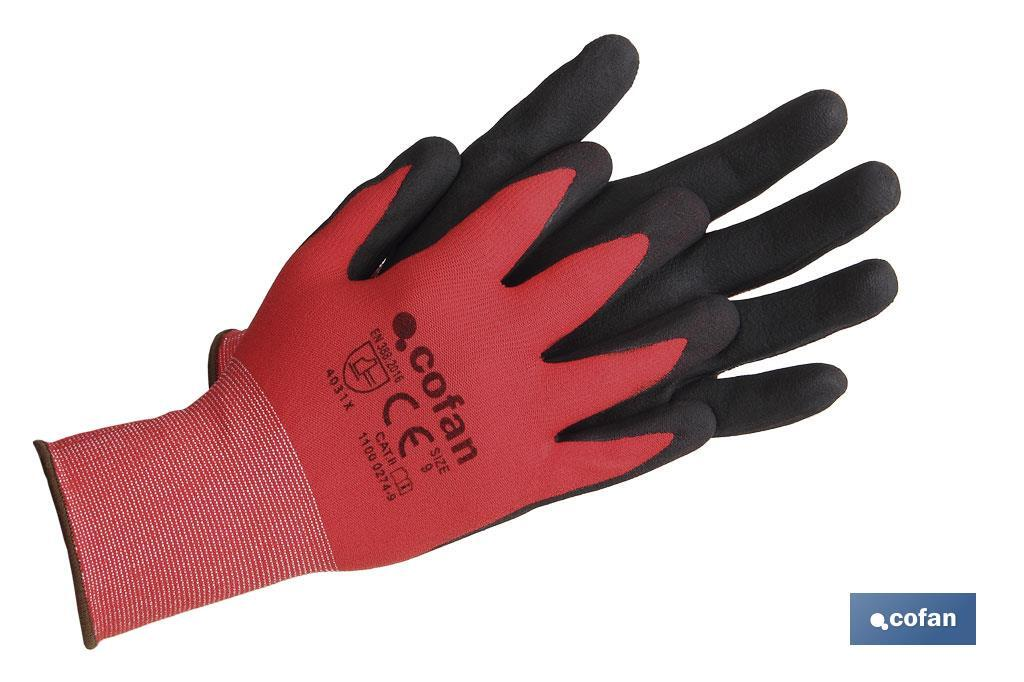 GUANTE IMPREGNADO SANDY COATED ROJO/NEGRO TALLA 11 (PACK: 12 UDS)