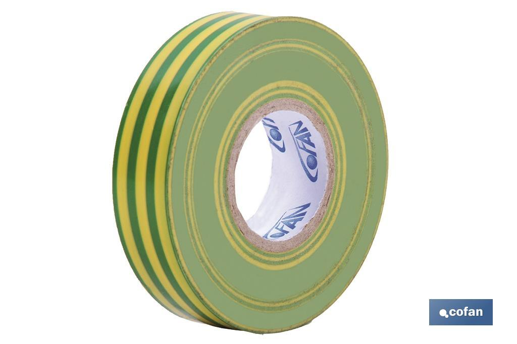 Cinta Aislante Amar/Verde de PVC 20m x 19mm