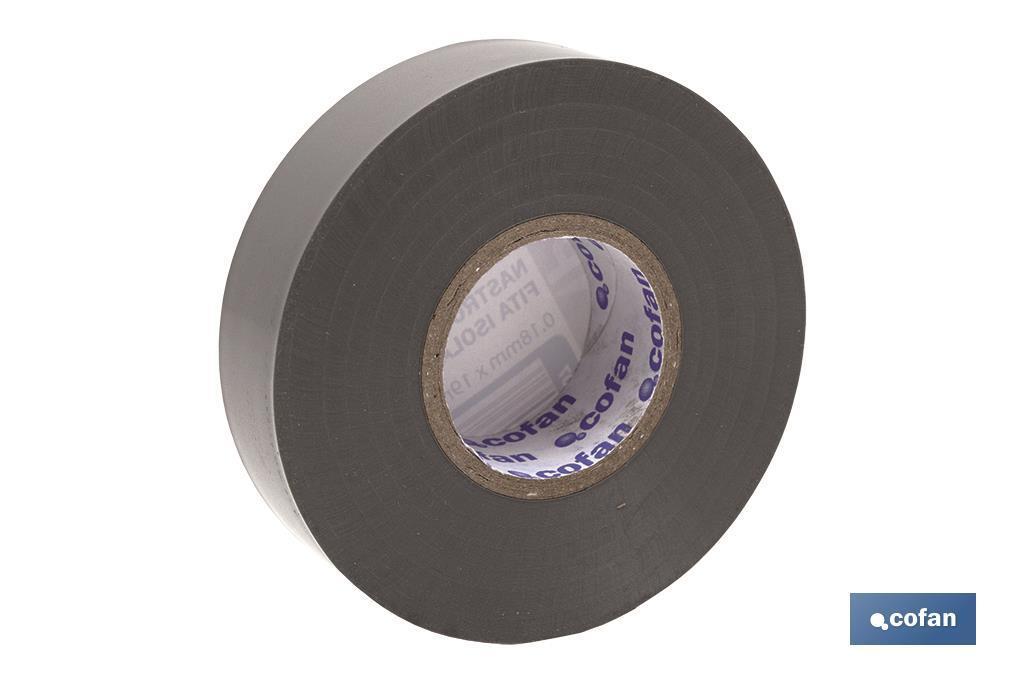 Cinta Aislante Gris de PVC 20m x 19mm