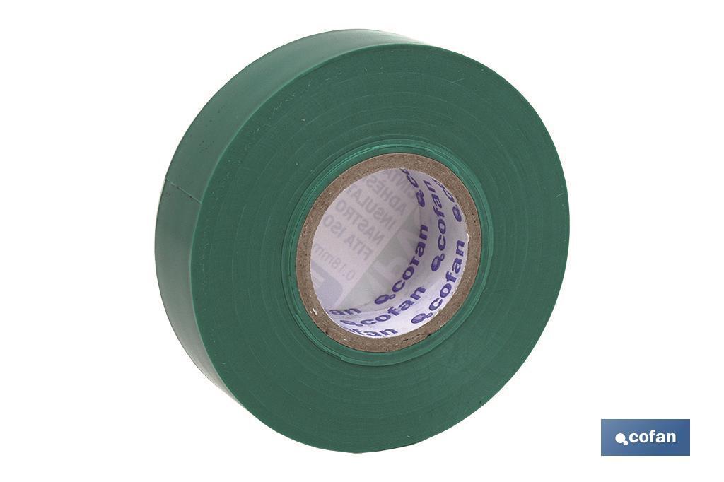 Cinta Aislante Verde de PVC 20m x 19mm