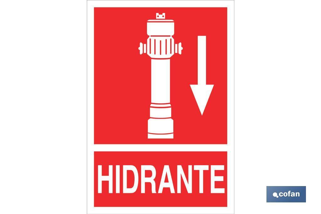HIDRANTE ABAJO PICTOGRAMA + TEXTO LUMINISCENTE