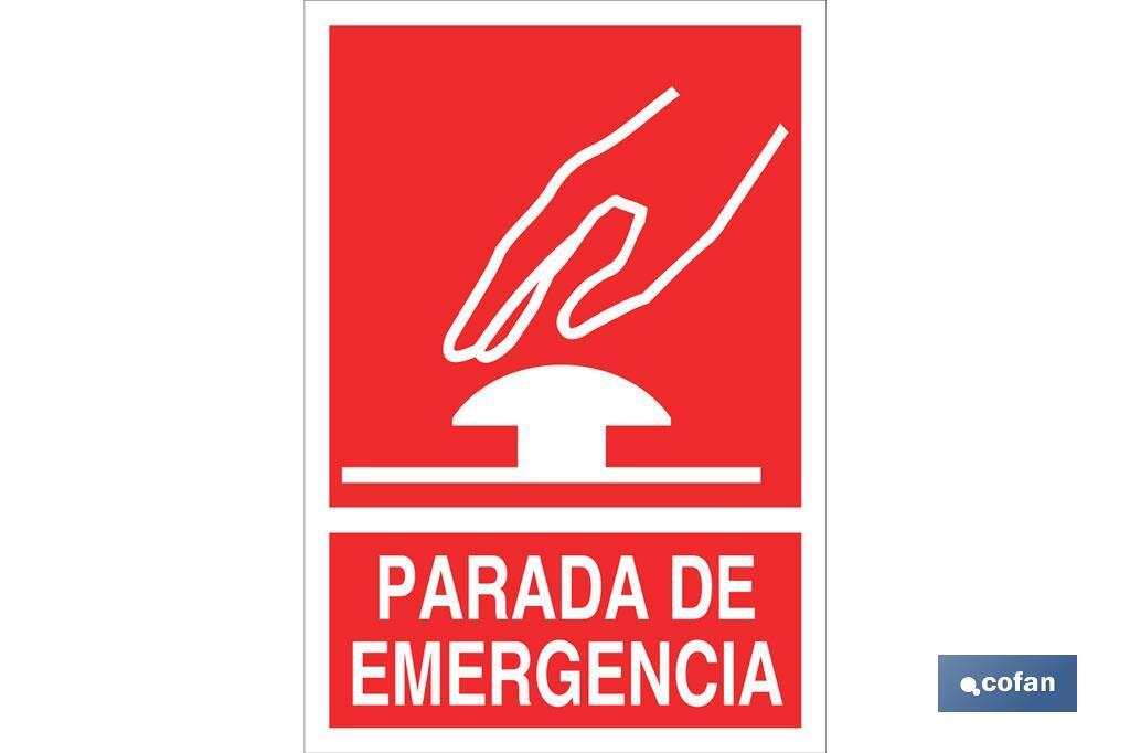 PARADA DE EMERGENCIA PICTOGRAMA + TEXTO