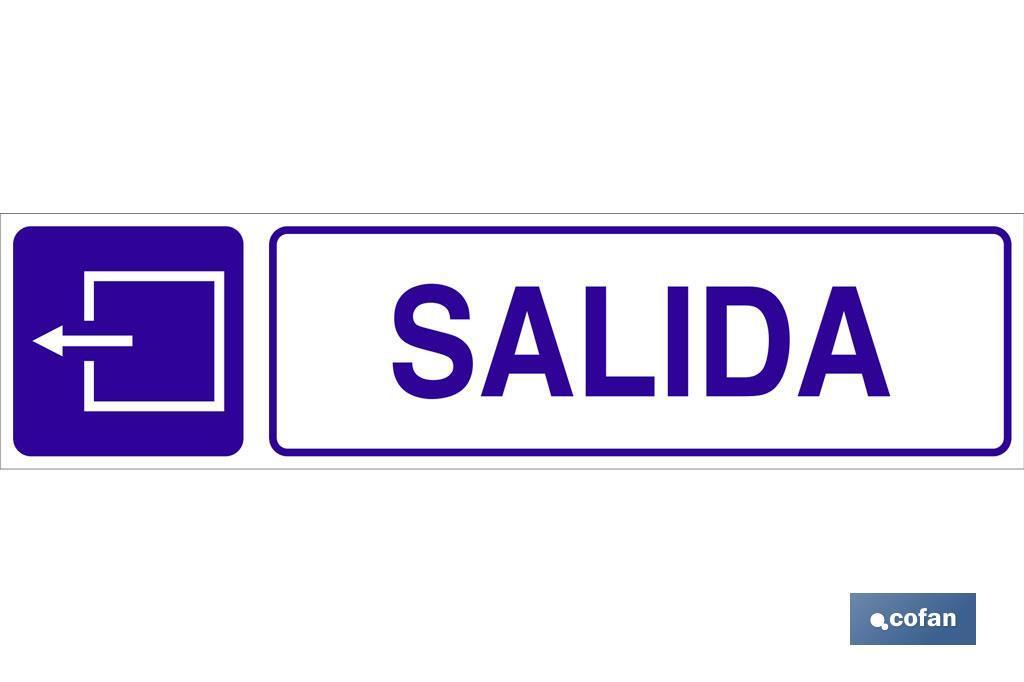"""SEÑAL """"SALIDA"""" GLASPACK IZQUIERDA"""