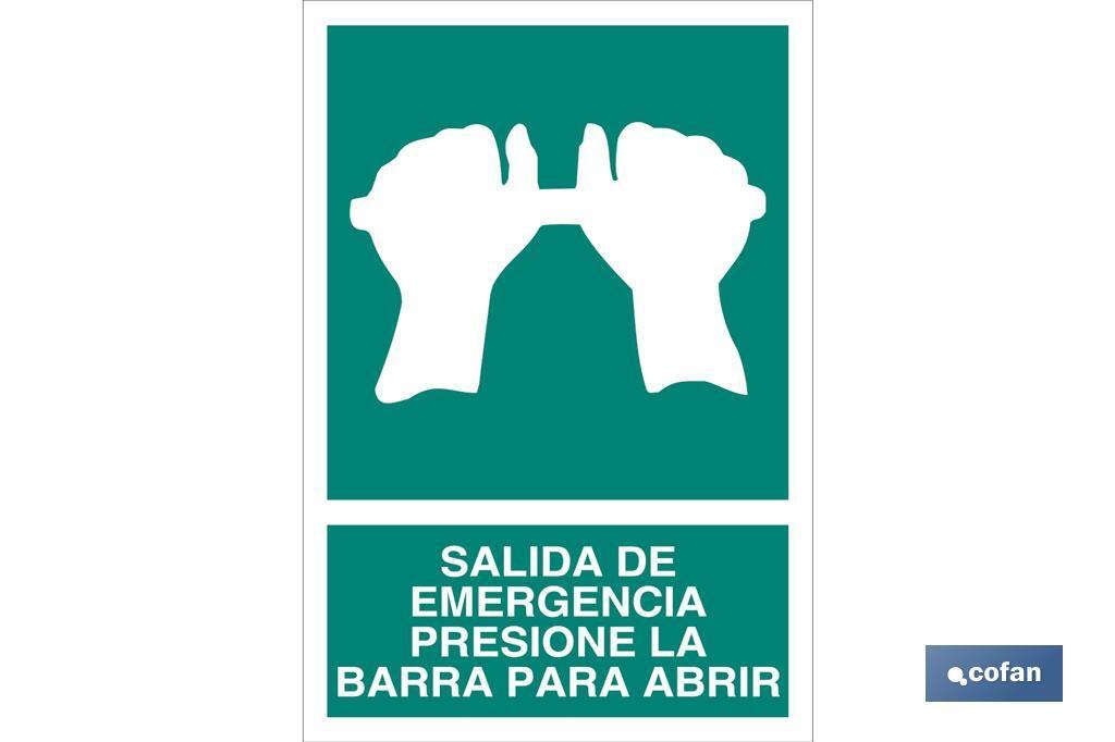 Salida de Emergencia Presione la Barra para Abrir