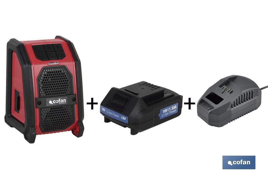 Pack Altavoz Bluetooth + Batería 1.5Ah + Cargador