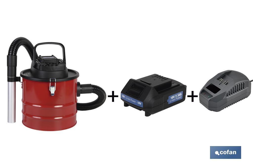 Pack Aspirador de Cenizas + Batería 1.5 Ah + Cargador